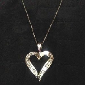 10K White Gold Diamond Necklace New No Tags